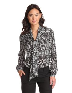 Anne Klein Women's Tribal Diamond Long Sleeve Blouse | Traveling Of Life#fashion #women #bags #shoes #clothing