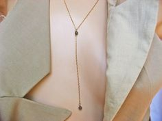 Lariat Y Necklace, Tiny Jasper Necklace, 14k Gold Fill or 925 Sterling Silver, Dainty Stone Necklace, Modern Design, Delicate Jewelry by NORRANA on Etsy