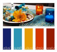 Blue Orange Crush Color Palette - Royal Blue, Turquoise, Mustard, Orange, Rust