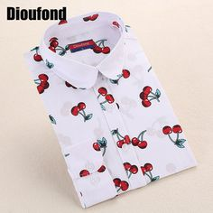 Dioufond Floral Long Sleeve Vintage Cherry Turn Down Collar