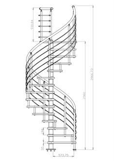 Varios planos en de escaleras de caracol y en L Escalera en forma de L Spiral Staircase Plan, Staircase Outdoor, Spiral Stairs Design, Stair Plan, Home Stairs Design, Interior Stairs, Modern Staircase, Building Stairs, Steel Stairs