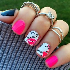easy to do! use sally hansen nail stickers for the white nails with black writing and then just use nail stickers or paint the hot pink design