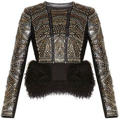 Herve Leger Raquella Multi-Studded Jacket ($8,900) ❤ liked on Polyvore featuring outerwear, jackets, black fur jacket, fur jacket, fur lined jacket, hervé léger and studded jacket
