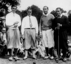 Golfers, from left Johnny Parnell, Bobby Jones, Walter Hagen and Gene Sarazen pose at the Woodland Country Club in Newton, Mass., in this Sept. 5, 1928 photo