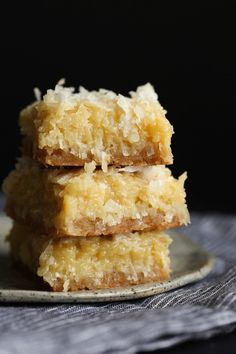 Buttery, sweet coconut bars!