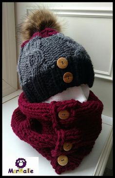 Cable knit hat and neck warmer Black, gray and cherry