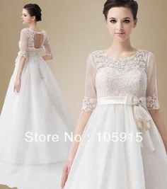 1920 Style Vintage Bandage Ivory Empire Train A-line Lace Wedding Dresses With Half Sleeves Pregnant Bridal Gowns Organza HK-205