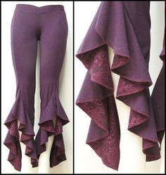 Tribal Belly Dance Pants Purple Ruffle Pants with Plum Lace Detail. $65.00, via Etsy.