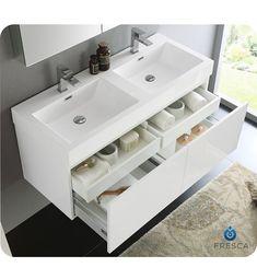 Fresca Mezzo 48 White Wall Hung Double Sink Modern Bathroom Vanity with Medicine Cabinet Diy Bathroom, Bathroom Furniture, Vanity, Double Vanity Bathroom, White Wall Hanging, Modern Bathroom, Modern Bathroom Vanity, Bathroom Design, Sink