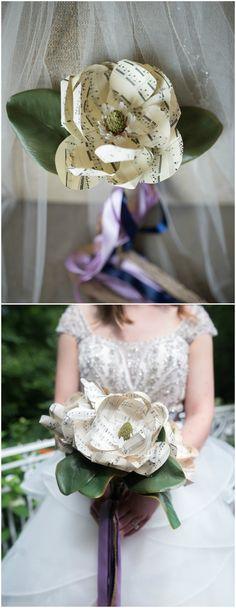 Alternative wedding bouquets, DIY wedding bouquet, sheet music wedding flowers, single bloom bridal bouquet, get more alternative wedding bouquet ideas on borrowedandblue.com // @mandimphoto