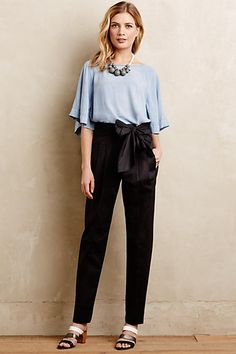 Bowtied Paperbag Cropped Trousers #anthropologie