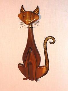 VIntage Mid Century Modernist Siamese Cat Wood Metal Wall Hanging