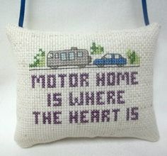 Motor Home Cross Stitched  Mini Pillow Ornament Camping by luvinstitchin4u on Etsy