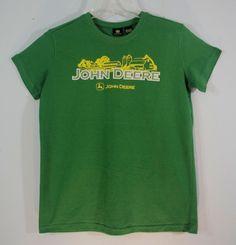John Deere Green T-Shirt Barn Silo Farm Scene Deer Logo Womens size M (8-10) #JohnDeere #GraphicTee