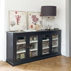 Black Buffet with Glass . Sideboard Decor, Black Sideboard, Large Sideboard, Stairs In Living Room, Ikea Living Room, Home Decor Kitchen, Kitchen Furniture, Cabinet Furniture, Sofa Table Decor