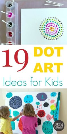 dot day art projects Want some dot art ideas? Whether you've read The Dot, are studying pointillism, or just want to make some fun art with your kids, here are 19 ideas to try. Projects For Kids, Art Projects, Crafts For Kids, Kindergarten Art, Preschool Art, Arte Black, Dot Day, Ecole Art, Art Classroom