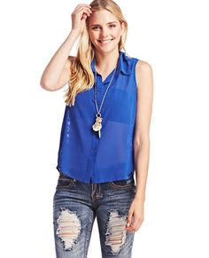 """<p>This sheer sleeveless top features a chic lace inset throughout most the back with a button-up placket detail that matches the one at the chiffon front complete with a stylized collar. Top is unlined and has a high-low hemline.</p>  <p>Model is 5'9"""" and wears a size medium.</p>  <ul> <li>Self: 100% Polyester</li> <li>Contrast: 65% Cotton / 35% Nylon</li> <li>Hand Wash</li> <li>Imported</li> </ul>"""