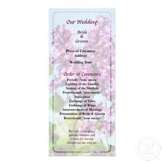 Designs by Susan Savad - Lilacs Against the Sky Wedding Program  -- Lilacs wedding program that you can customized yourself.  #wedding  #weddingprogram #customize #flower #flowers #lilacs #spring   $0.55  per card   BULK PRICING AVAILABLE!