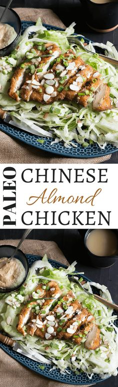 Paleo Chinese Almond Chicken | Crispy tempura chicken covered in almond gravy via @wickedspatula