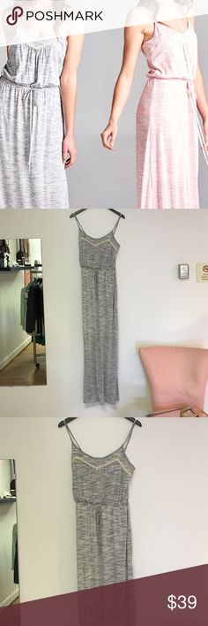 Grey Maxi Dress Grey Maxi Dress with spaghetti straps the front has lace details and the mid section gathers the dress is lined for added comfort Dresses Maxi