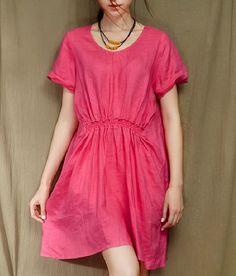Crinkle Waist Loose Style Ramie Dress-zenb.com SKU aa0360