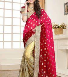 d02d95afc7d7de Buy Pink and Maroon and Cream embroidered jacquard saree with blouse  wedding-saree online Saree