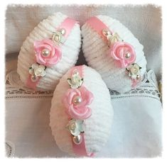 Blanc/rose 4 oeufs bol charge Cottage Chic Chenille