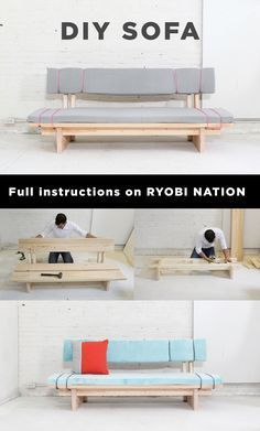 This DIY sofa by Ben Uyeda at Homemade Modern can… Diy Sofa, Diy Furniture Couch, Plywood Furniture, Pallet Furniture, Furniture Projects, Furniture Design, Furniture Websites, Concrete Furniture, Furniture Online