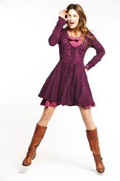 """Cardigan Perdo Colour R7 Violet.   Dress Polenta Colour R8 Violine.   By """"Mais il est où le soleil?"""" in Belgium."""
