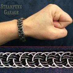 B/W Viper Basket - Orbital Vipera Berus - Black Stainless Steel Chainmaille