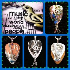 The Power of Music brings us together! Guitar Pick necklaces - Abalone Treble Clef with bar note, Crystal $21 - metallic copper silver Strat with bar note and Crystal $28 - silver Metallic Treble clef with bar note $26 - metallic white gold Strat with bar note, Crystal $28 - purchase thru website!