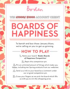Boo the blues and win £1000/ $1000 credit in our Boden Boards of Happiness competition. For full ts and cs, click here > www.boden.co.uk/happytsandcs