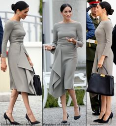 The Duchess Wears Roland Mouret to Start Day Two in Dublin – What Meghan Wore Meghan Markle Stil, Pakistani Clothes Online, Fashion Desinger, Tango Dress, Estilo Fashion, How To Look Classy, Office Fashion, Royal Fashion, Classy Dress