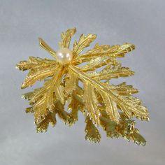 Vintage Brooch Capri Genuine Pearl Autumn Leaf by waalaa on Etsy, $34.99