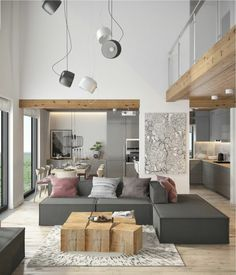 Moderne Einrichtungsideen Wohnzimmer  Holztisch Plueschteppich Graue Eckcouch Uebergang