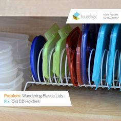 Use an old CD holder to tame that perilous pile of plastic lids in your kitchen drawers, plus 6 more organizing ideas to better utilize your home's limited storage space.