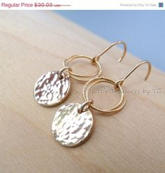 SALE Little Chandelier Earrings Gold hammered Disc by TatianaG, $25.50