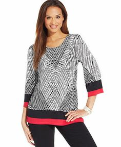 JM Collection Printed Colorblock Tunic - Tops - Women - Macy's