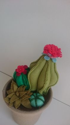 Beautiful flowering felt cacti garden by TheLittleEggShop on Etsy