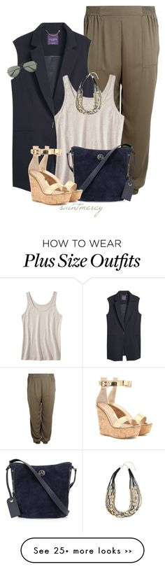 """""""""""Have you ever noticed how 'What the hell' is always the right decision to make?""""  ― Terry Johnson"""" by saint-mercy on Polyvore featuring Violeta by Mango, Pure Energy, Marc by Marc Jacobs, Gianvito Rossi, Ray-Ban and plus size clothing"""