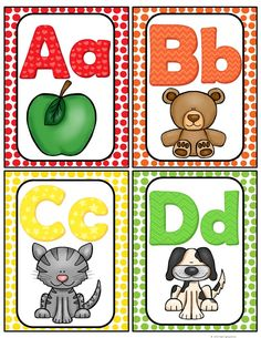 Here is a cute set of Alphabet cards for your classroom. They can be used as flash cards or word wall headers. The pictures are inviting and your students will enjoy using them to help them with letter sound recognition. I have also included a mini Alphabet Wall Cards, Alphabet Words, Alphabet Pictures, Alphabet Charts, Alphabet For Kids, Alphabet Flash Cards, Printable Alphabet Letters, Alphabet Activities, Preschool Activities