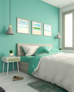 Cozy and soothing teal bedroom design ideas. Teal Bedroom Designs, Teal Bedroom Decor, Indian Bedroom Decor, Grey Bedroom Design, Bedroom Turquoise, Bedroom Wall Colors, Room Ideas Bedroom, Best Colour For Bedroom, Aqua Bedrooms