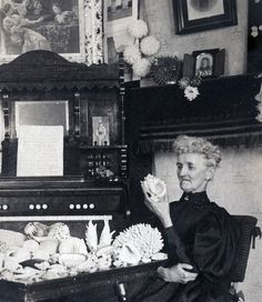 vintage photo unusual Shell Collector Woman Mrs Crow admiring her collection. 44.00, via Etsy. C. 1895