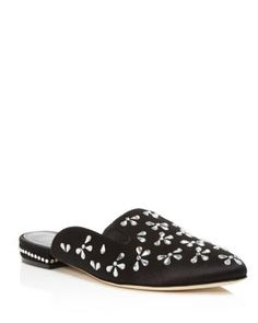 Clean And Amazing Oscar De La Renta Slippers Suede Black Cici Embellished
