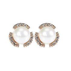Tagoo Women's Bling Simulated Pearl Stud Earrings