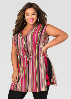21b5e1f896a13 Striped Cinch Waist Tunic · Plus Size ...