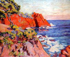 Armand Guillaumin (French: 1841 – 1927), Rochers sur la Côte à Agay, 1907. - WikiPaintings.org