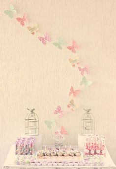 Butterfly wall decoration idea for a baby shower!