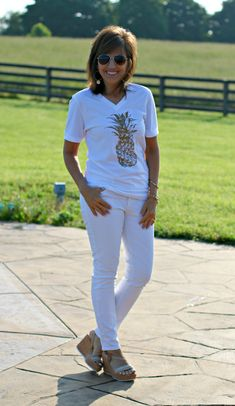 It's an all white look for summer - styling pineapples!