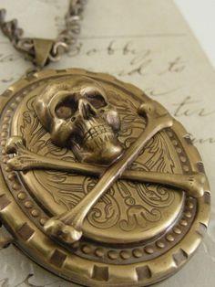 Locket Skull and Crossbones Necklace Vintage Brass Victorian Steampunk Large Locket. $42.00, via Etsy.
